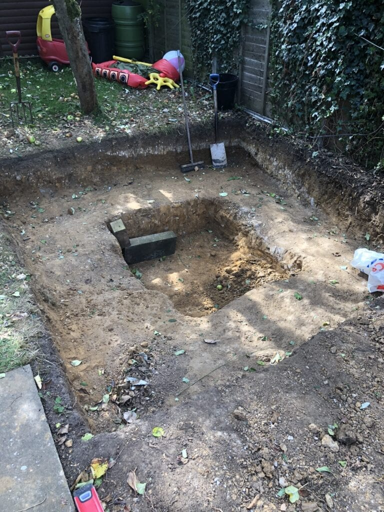 Digging a hole for a Hot Tub